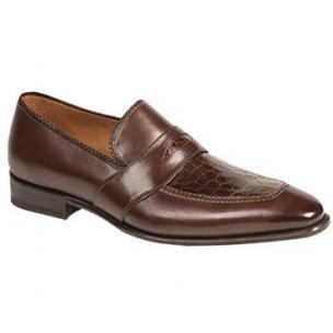 Mezlan Lambert Crocodile & Calfskin Apron Toe Loafers Brown Image