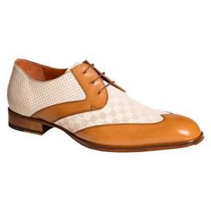 Mezlan Levi Textured Calfskin Wingtip Shoes Camel / Bone Image