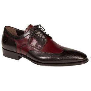 Mezlan Lincoln Wingtip Spectator Shoes Black / Burgundy Image