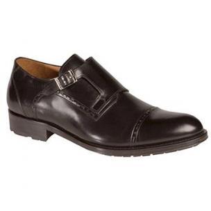 Mezlan Lloret Calfskin Monk Strap Shoes Black Image