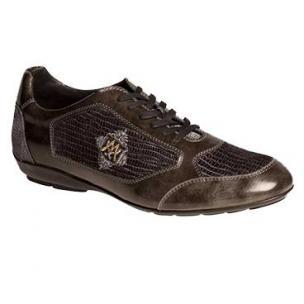 Mezlan Lope Calfskin & Velvet Sneakers Gray Image