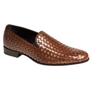 Mezlan Macario Nappa Woven Loafers Cognac Image