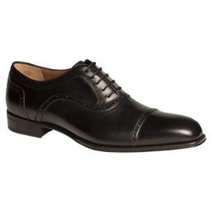 Mezlan March Cap Toe Shoes Burnished Black Image