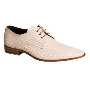 Mezlan Martini Punched Calfskin Derby Shoes Bone Image