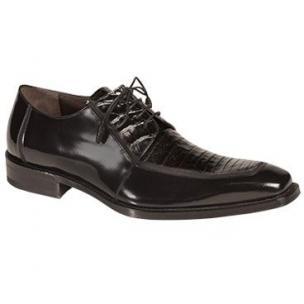 Mezlan Mercouri Crocodile & Calfskin Derby Shoes Black Image