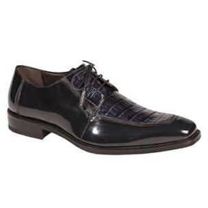 Mezlan Mercouri Crocodile & Calfskin Derby Shoes Blue Image