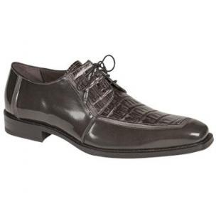 Mezlan Mercouri Crocodile & Calfskin Derby Shoes Gray Image