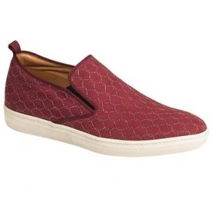 Mezlan Moneo Embossed Suede Sneakers Burgundy Image