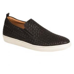 Mezlan Moneo II Embossed Suede Sneakers Black Image