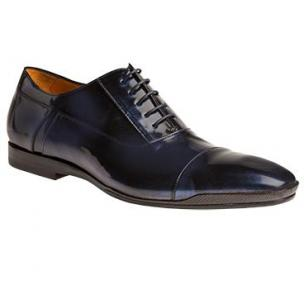 Mezlan Moricone Marbleized Calfskin Cap Toe Shoes Blue Image