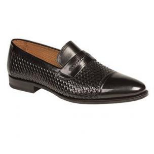Mezlan Moya Embossed Woven Calfskin Loafers Black Image