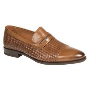 Mezlan Moya Embossed Woven Calfskin Loafers Tan Image