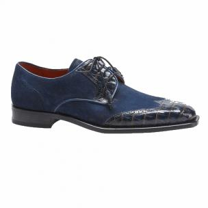 Mezlan Nunez Crocodile & Suede Spectator Shoes Blue / Camel Image