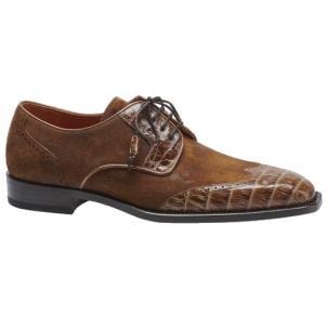 Mezlan Nunez Crocodile & Suede Spectator Shoes Camel / Beige Image