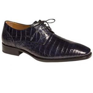 Mezlan Orazio Crocodile Derby Shoes Blue Image