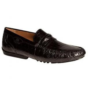 Mezlan Padua Crocodile Driving Loafers Black Image