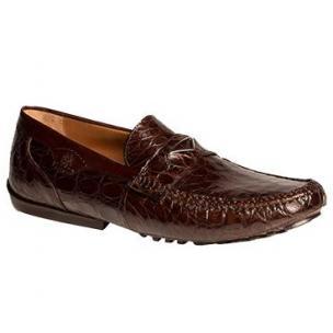 Mezlan Padua Crocodile Driving Loafers Brown Image