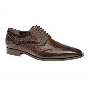 Mezlan Ponce Deerskin & Calfskin Wingtip Shoes Brown Image