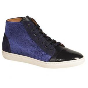 Mezlan Pons Velveteen Fabric Hi Top Sneakers Blue Image