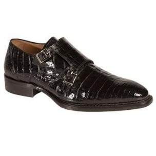 Mezlan Prague Crocodile Double Monk Strap Shoes Black Image