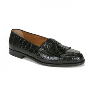 Mezlan Rodeo Crocodile Fringe Tassel Loafers Black Image