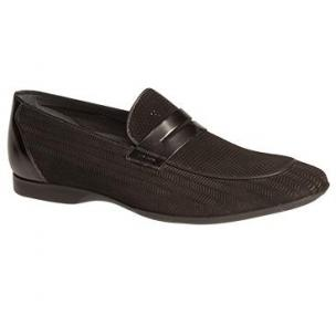 Mezlan Rogier Perforated Suede Penny Loafers Black Image