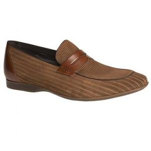 Mezlan Rogier Perforated Suede Penny Loafers Sport Image