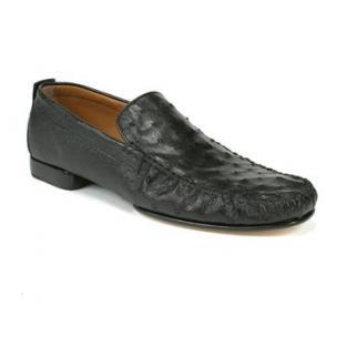 Mezlan Rollini Ostrich Loafers Black Image