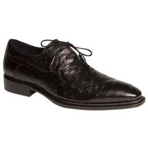 Mezlan Romano Ostrich Derby Shoes Black Image