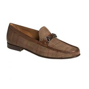 Mezlan Salinas Plaid Suede Bit Loafers Brown / Taupe Image