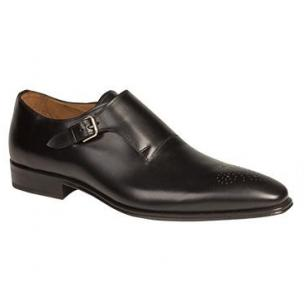 Mezlan Serna Medallion Toe Monk Strap Shoes Black Image