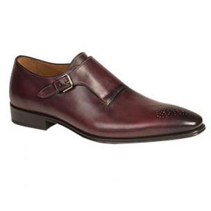 Mezlan Serna Medallion Toe Monk Strap Shoes Burgundy Image