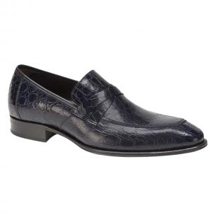 Mezlan Sierpes Crocodile Calfskin Shoes Blue Image