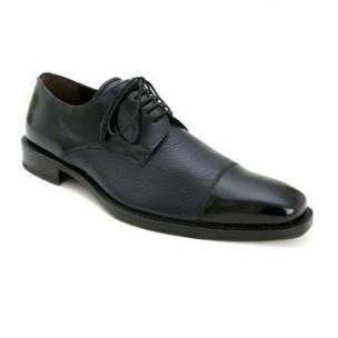 Mezlan Soka Calfskin & Deerskin Cap Toe Shoes Blue Image