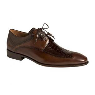 Mezlan Toledo Ostrich & Calfskin Derby Shoes Brown Image