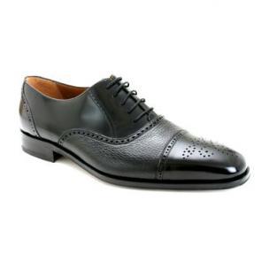 Mezlan Tyson II Calfskin & Deerskin Cap Toe Shoes Black Image