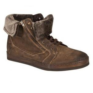 Mezlan Utrech Oiled Suede Sneakers and Shearling Taupe Image