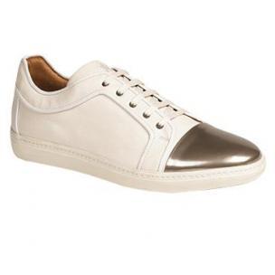 Mezlan Valeri II Suede & Metallic Calfskin Sneakers Silver / White Image