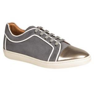 Mezlan Valeri Suede & Metallic Calfskin Sneakers Silver / Gray Image