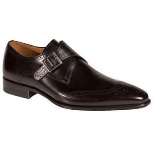 Mezlan Vitoria Wingtip Monk Strap Shoes Black Image
