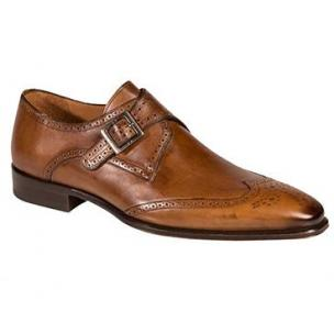 Mezlan Vitoria Wingtip Monk Strap Shoes Tan Image