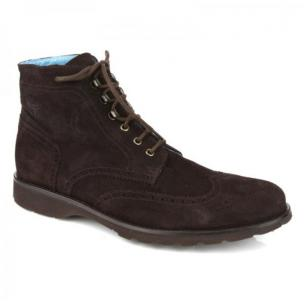 Michael Toschi Albion Suede Wingtip Boots Chocolate Image