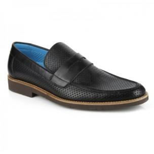 Michael Toschi Cabo Summer Perforated Loafers Black Image