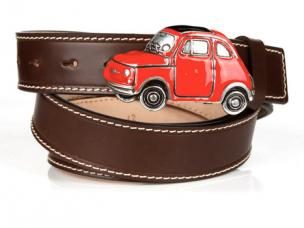 Michael Toschi Cinquecento 500 Belt Chocolate/Red Image