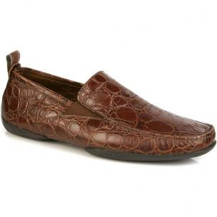 Michael Toschi Onda Driving Shoes Chocolate Croco Image