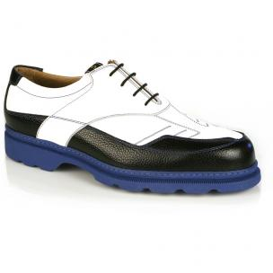 Michael Toschi G4 Golf Shoes White & Black / Blue Sole Image