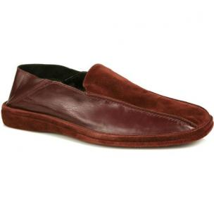 Michael Toschi Grotto Calfskin / Suede Slippers Burgundy Image