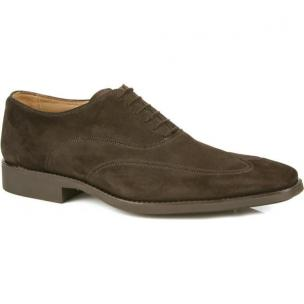 Michael Toschi Luciano Wing Tip Shoes Chocolate Suede Image