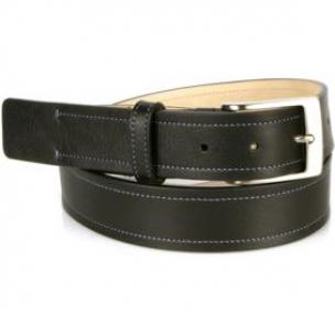 Michael Toschi Onda Calfskin Belt Black / Blue Stitch Image