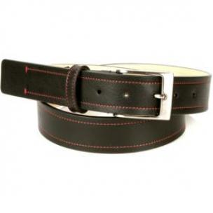 Michael Toschi Onda Calfskin Belt Chocolate / Red Stitch Image